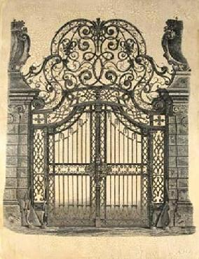 Vision Studio Wrought Iron Gate Hand Colored