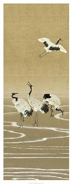 Paul Montgomery Cranes On Gold I Giclee Canvas
