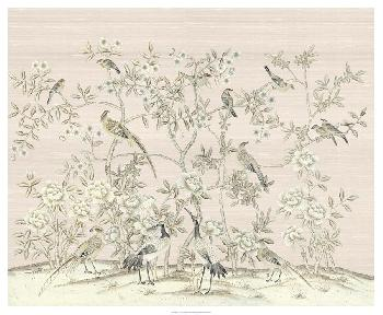 Paul Montgomery Bird Party In Pink Champagne Giclee Canvas