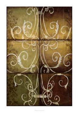 Jennifer Goldberger Wrought Iron & Damask Giclee on Canvas