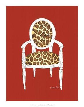 Chariklia Zarris Giraffe Chair On Red Giclee