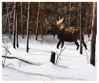 Kevin Daniel Winter Forage Giclee on Canvas