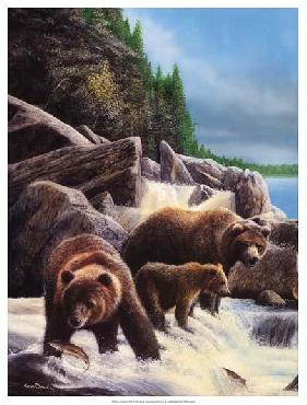 Kevin Daniel Grizzlies By Falls Giclee on Canvas