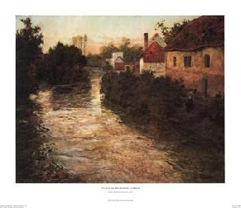 Johan Frederick Thaulow Village on the Bank of a Stream