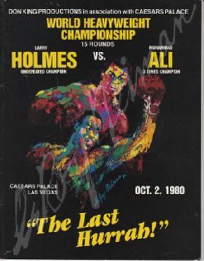 LeRoy Neiman Ali vs Holmes - The Last Hurrah Hand Signed by LeRoy Neiman