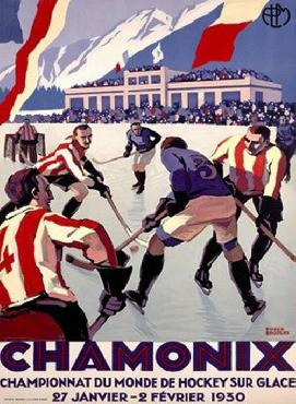 Roger Broders Chamonix Ice Hockey Giclee on acid free paper
