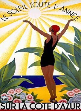 Roger Broders Cote Dazur  -  Le Soleil Toute Lannee Giclee on acid free paper