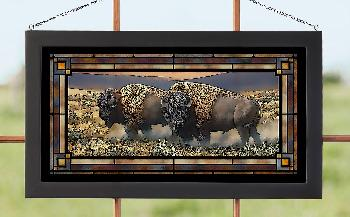 Rosemary Millette Dusty Plains - Bison Stained Glass Art Stained Glass Art