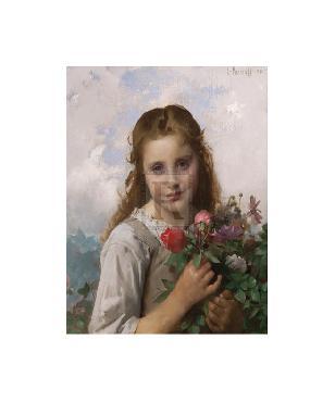 Leon Jean Basile Perrault Petite Fille Au Bouquet De Fleurs Gouttelette