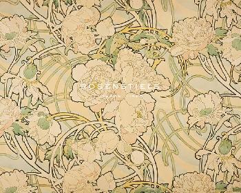 Alphonse Mucha Peonies Giclee Canvas
