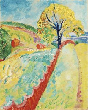 Sigrid Hjerten The Red Fence, Granna Giclee Canvas