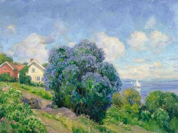 Thorolf Holmboe Summer Landscape With Lilac Bush, House And Sailing Boa Giclee