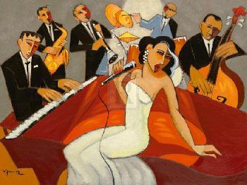 Marsha Hammel In The Mood  -  For Jazz Giclee Canvas