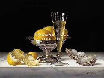 Roy Hodrien Champagne With Lemons And Oysters Giclee Canvas