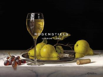 Roy Hodrien Pears On A Silver Plate Giclee Canvas