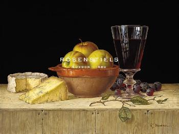 Roy Hodrien Apples In A Rustic Bowl With Cheeses Giclee Canvas
