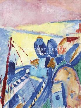 Sigrid Hjerten Blue Barges Giclee Canvas
