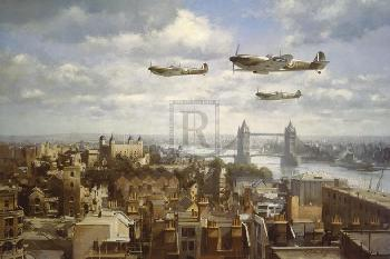 John Young Spitfires Over London Giclee Canvas