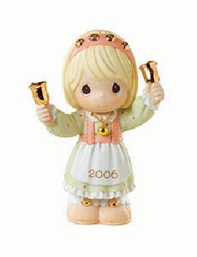 Precious Moments 2006 Ringing in the Season, Girl with Bells Precious Moments Figurine