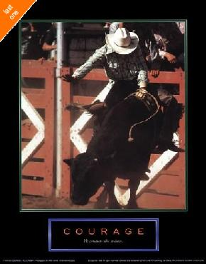 Motivational Courage - Bull Rider   LAST ONES IN INVENTORY!!