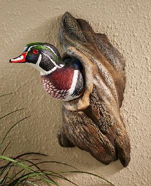Phil Galatas Wood Duck In Tree Sculpture