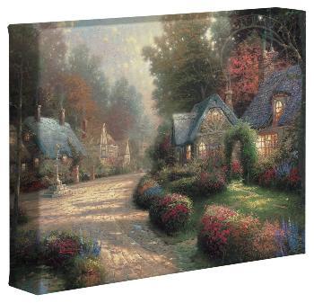 Thomas Kinkade Cobblestone Lane Open Edition Wrapped Canvas