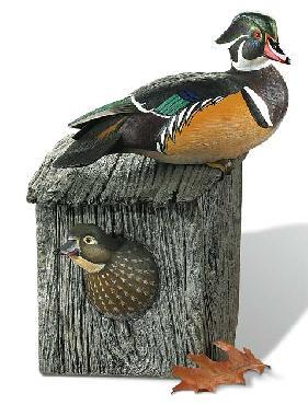 Sam Nottleman Wood Duck Pair Sculpture