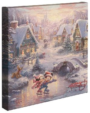 Thomas Kinkade Mickey and Minnie - Sweetheart Holiday Open Edition Wrapped Canvas