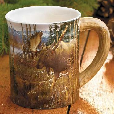 Michael Sieve Cotton Grass Meadow Moose Sculpted Mug