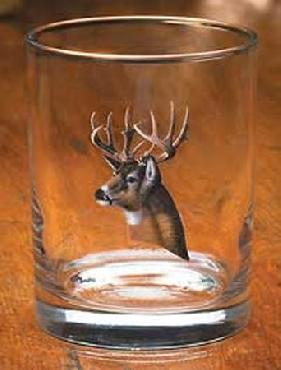 Michael Sieve Whitetail Deer Portrait Glassware Double Old Fashioned