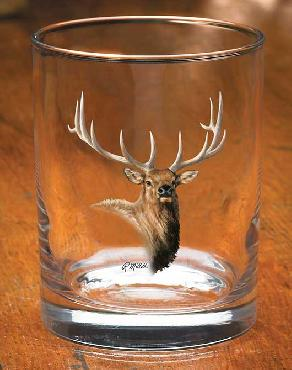 Rosemary Millette Elk Portrait Glassware Double Old Fashioned