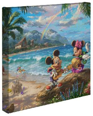 Thomas Kinkade Mickey And Minnie In Hawaii Open Edition Wrapped Canvas
