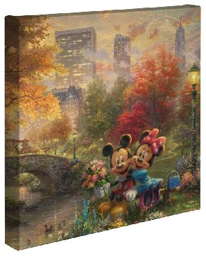 Thomas Kinkade Mickey and Minnie in Central Park Open Edition Wrapped Canvas