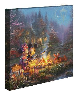 Thomas Kinkade Mickey and Minnie - Sweetheart Campfire Open Edition Wrapped Canvas