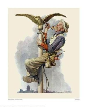 Norman Rockwell Painting The Flagpole Giclee