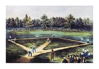 Currier and Ives The American National Game Of Baseball At The Elysian F Giclee on Canvas