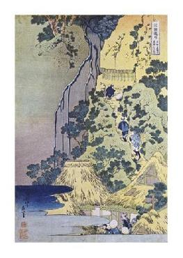Katsushika Hokusai Travellers Climbing Up A Steep Hill Giclee