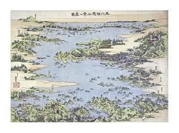 Katsushika Hokusai Map Of Shiogama And Matsushima In Oshu Giclee on Canvas