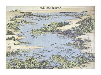 Katsushika Hokusai Map Of Shiogama And Matsushima In Oshu Giclee
