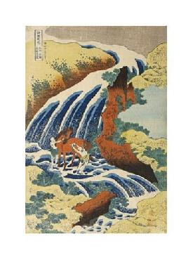 Katsushika Hokusai Two Men Washing A Horse In A Waterfall Giclee on Canvas