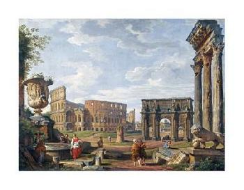 Giovanni Paolo Pannini A Capriccio View Of Rome With The Colosseum Giclee