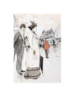 Theophile Alexandre Steinlen A Couple Waiting For A Bus Giclee