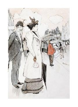 Theophile Alexandre Steinlen A Couple Waiting For A Bus Giclee on Canvas