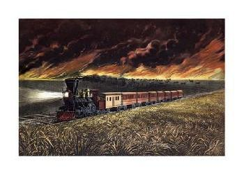 Currier and Ives Prairie Fires Of The Great West Giclee