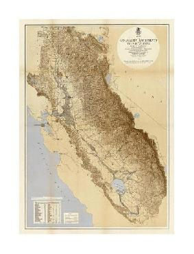 California Irrigation Commission Map Of The San Joaquin, Sacramento And Tulare Valleys, Giclee