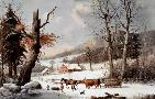 Currier and Ives Winter In The Country  -  Homeward From The Wood - Lot