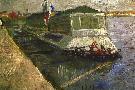 Vincent Van Gogh Bathing Float On Seine