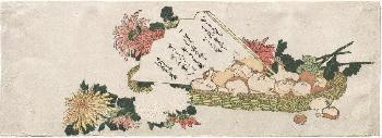 Katsushika Hokusai Basket With Fan, Chrysanthemums, And Mushrooms, Early 1