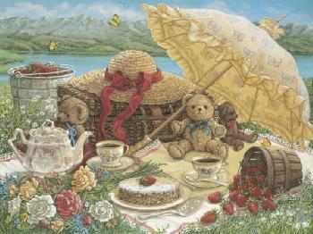Janet Kruskamp A Beary Nice Picnic Giclee on Canvas