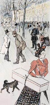 Theophile Alexandre Steinlen A Street Scene Giclee on Canvas